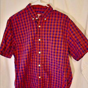 J. Crew Men's short sleeve cotton gingham red blue